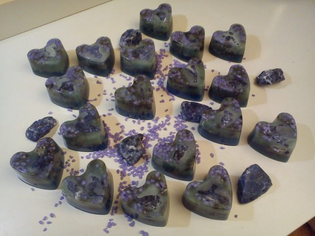 Orgonite beeswax hearts, art energy by Marco Matteucci aka Marek Sheran